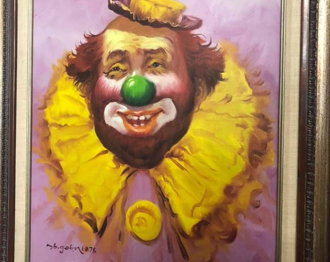 Vintage Oil on Canvas Framed Clown Picture Signed and Dated