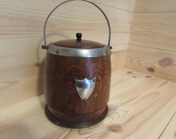 Chromium Solid Oak Vintage Ice Bucket Biscuit Jar Etc
