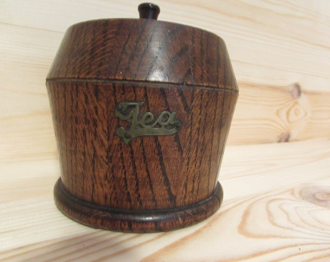 Solid Oak Antique Tea Caddy with Liner