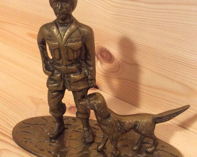 One Man and His Dog Brass Sculpture Figure