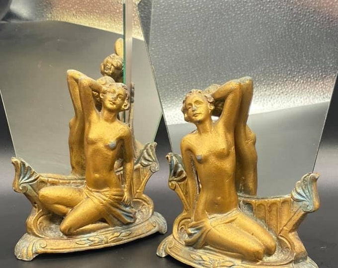 Pair of Art Deco Nude Fan Mirrors