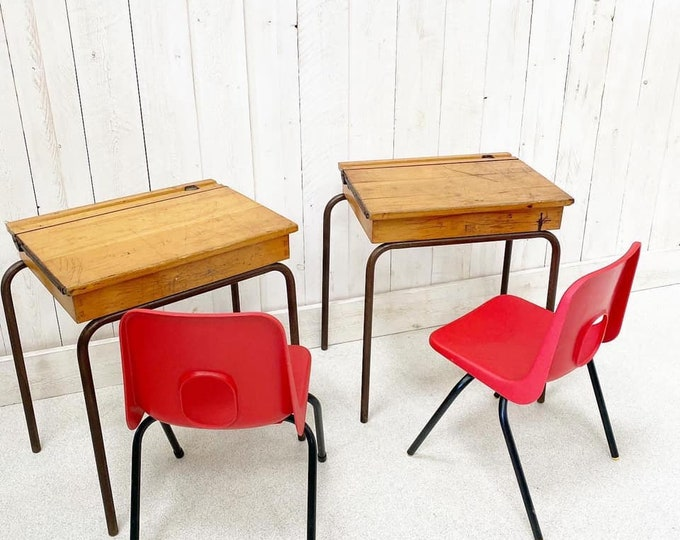 Pair of Children's School Desks and Chairs