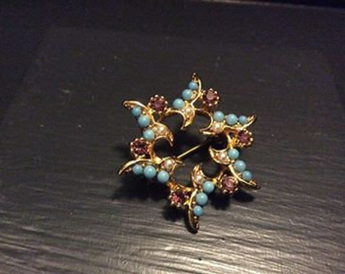 Stunning Vintage Turquoise and Amethyst (faux?) Brooch  - JO112