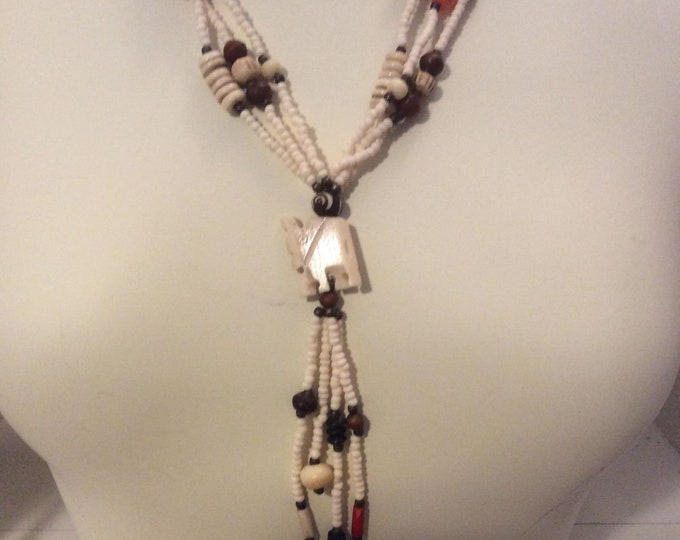 Vintage Bead and Bone Elephant Necklace- J034
