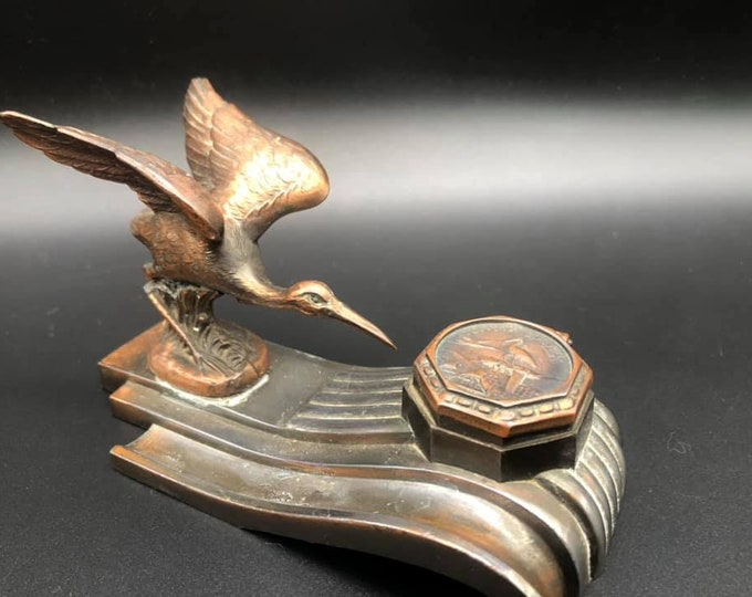 Antique French Copper Inkwell Desk Accessory