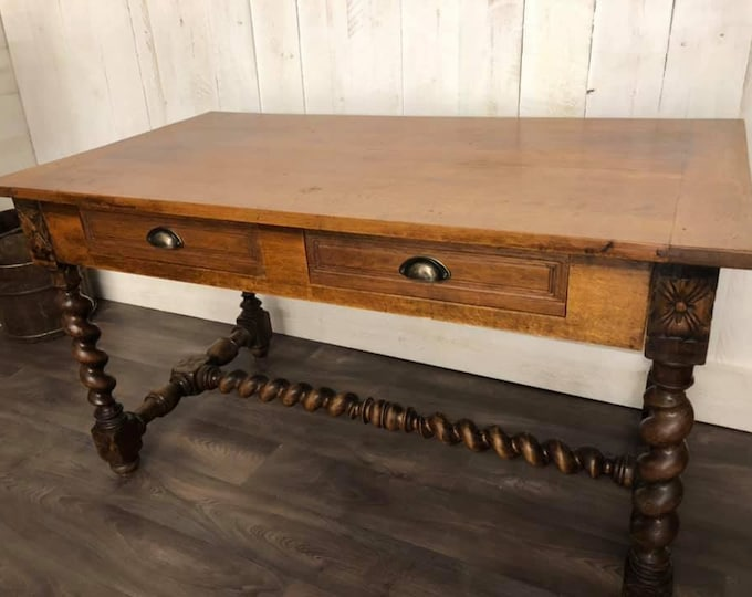 French Elm and Fruitwood Table or Desk
