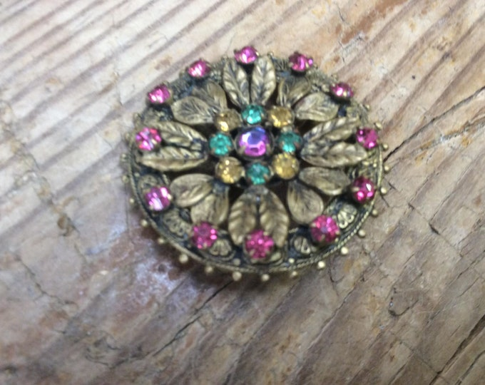 Vintage Costume Brooch stunning with patina- J025