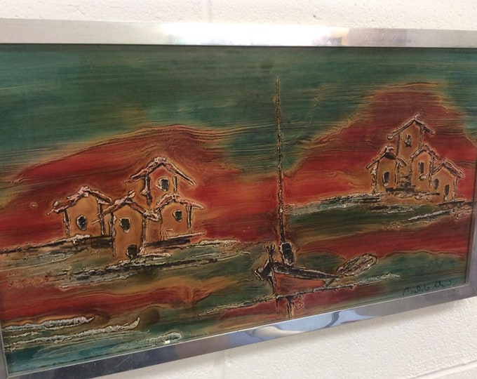 Spanish School Mid Century Painting Picture Wall Hanging