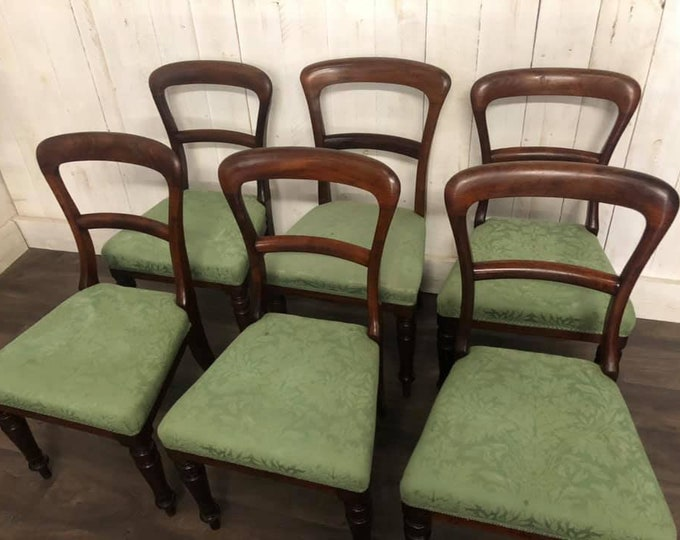 Set of Six Victorian Balloon Back Dining Chairs (780)