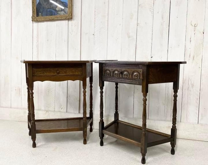 Pair of Oak Hall Tables