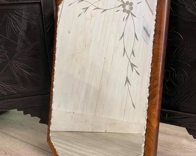 Lovely Art Deco Walnut Framed Wall Mirror