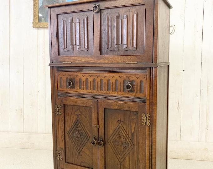 Antique Linen Fold Cocktail Cabinet