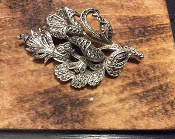 Vintage Marcasite C1930 Brooch Valentine Mothers Day Gift JO113