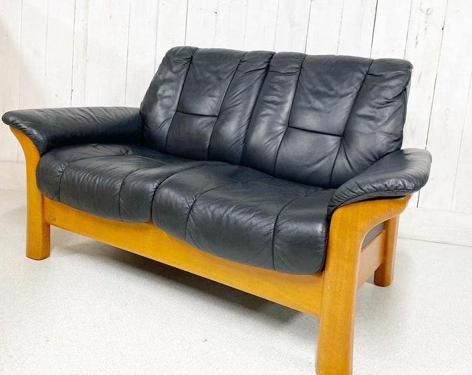 Rare Early Ekornes Black Leather Sofa