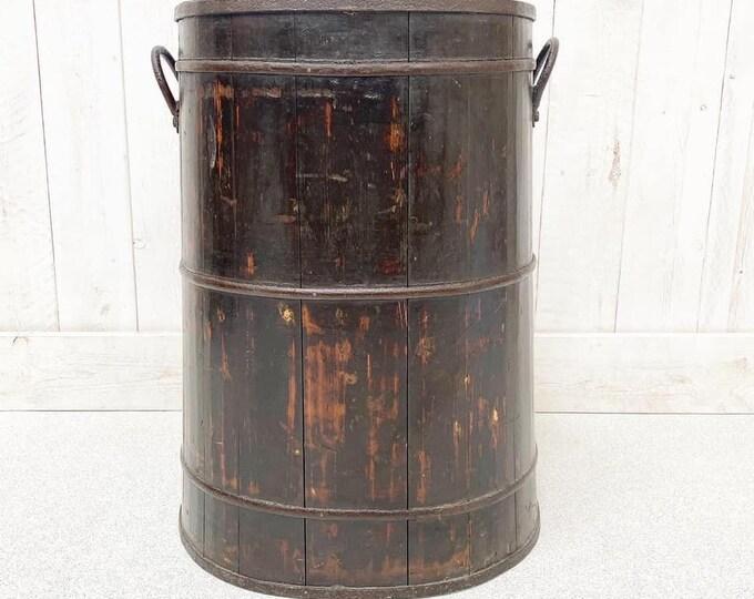 Large Elm Coopered Barrel Excellent Laundry Bin