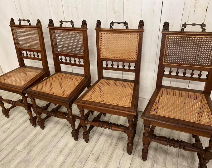 Set of Four Bergere Flemish Chairs