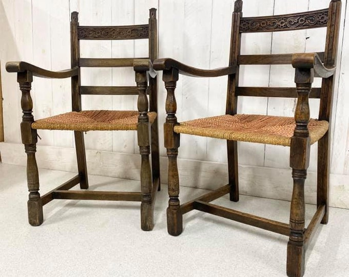 Pair of Oak Elbow Chairs