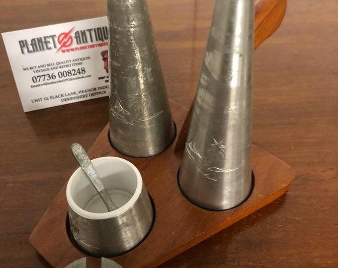 Mid Century Pewter Condiment Set on Teak Stand