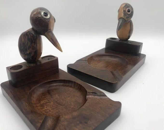 Pair of Novelty Kitsch Art Deco Bird Ashtray