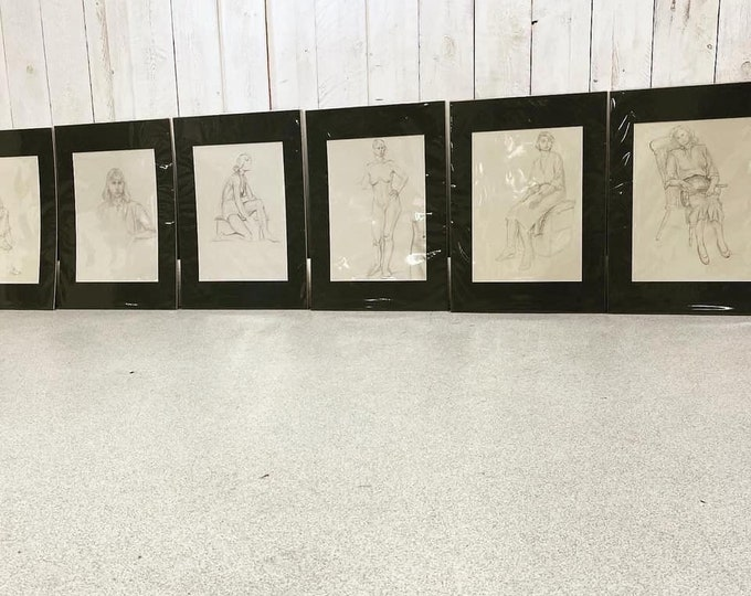 Set of 6 Pencil Sketches Mounted