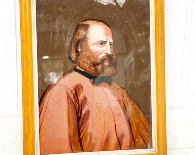 Giuseppe Garibaldi Reverse Oil on Glass Painting a Little Bit of History