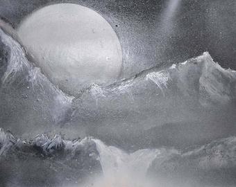 Hand Painted, Acrylic, Spray Painted, lake, Full moon, Waterfalls