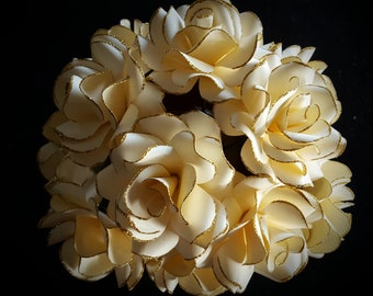Paper flowers, paper roses, ivory flowers, ivory and gold wedding, wedding centerpieces, home decor, stemmed paper flowers, dozen roses