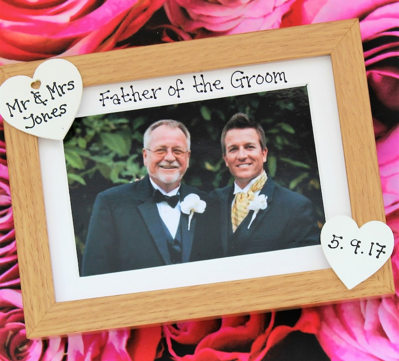 Wedding gift present photo frame mother father of the groom bride personalised oak grey black hearts hand-painted handmade