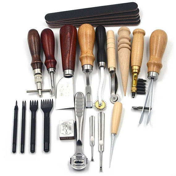 7 In 1 Adjustable Stitching Groover Crease Leather Tools Lot DIY Leather Set Kit