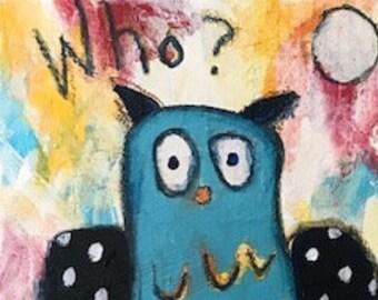 Original Folk Art Painting - Folkart - Acrylic - 6x8 - Owl Painting - Primitive Art