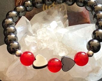 Hematite, Heart, Ruby, July Birthstone Beaded, Gemstone Bracelet