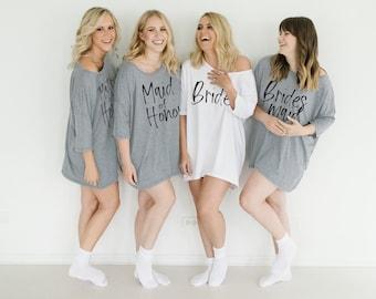 Bridesmaid Pajamas - Oversized PJ Shirt - Bridesmaid PJs - Bride Sleep Shirt - Cover Up Shirt - Slouchy Long Shirt - Bridesmaid Sleepwear