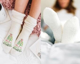 Christmas Socks - Fuzzy Socks - Women's Holiday Socks - Novelty Socks - Fluffy Socks - Stocking Stuffer - Winter Socks - Sleep Socks