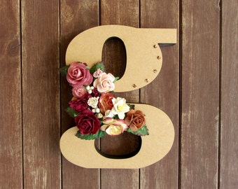 Floral Decorated Wooden Letter - lowercase g / wall nursery birthday wedding office decor