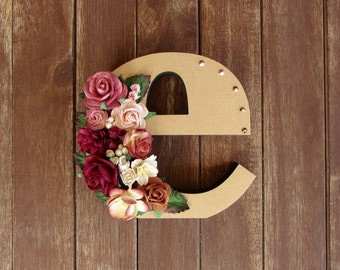 Floral Decorated Wooden Letter - lowercase e / wall nursery birthday wedding office decor