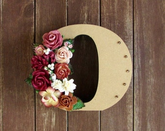 Floral Decorated Wooden Letter - lowercase o / wall nursery birthday wedding office decor