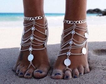 ef9b1a263f5fd Boho Retro Silver Barefoot Sandal