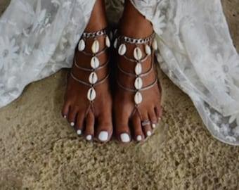 dd2f9da6dc4ba BOHO Beach Cowrie Shell Silver Alloy Barefoot Sandals Anklet Chain Antique  Gypsy Bohemian