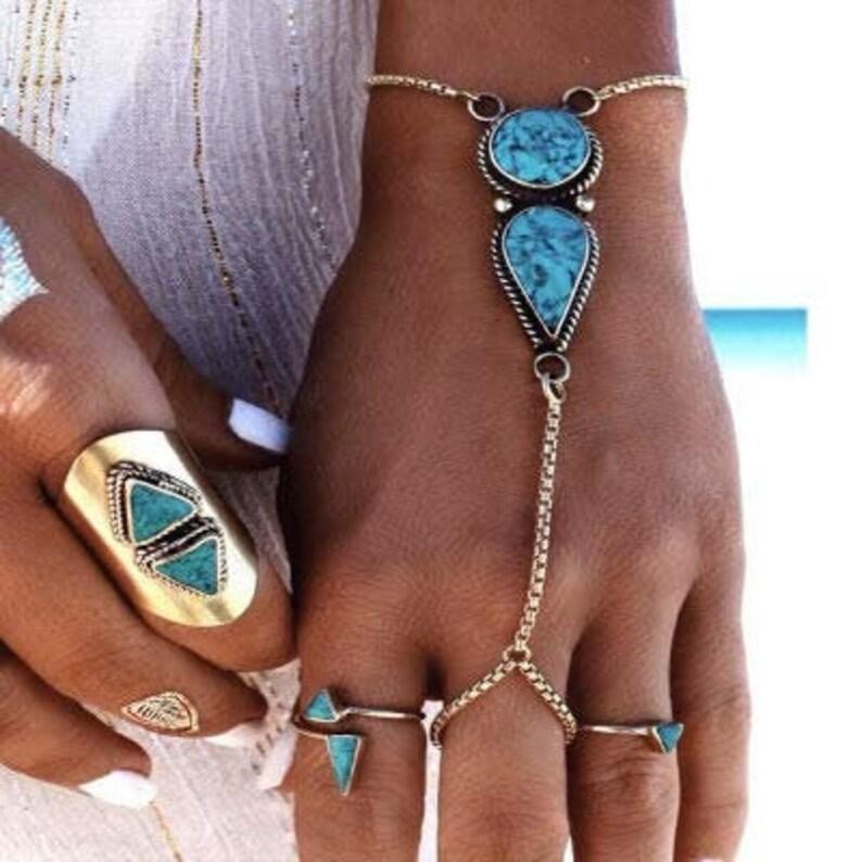 Bohemian Beach Chains Jewelry Hand Bracelet Handcuff Bracelet Hand Chains Boho Chic Body Jewelry