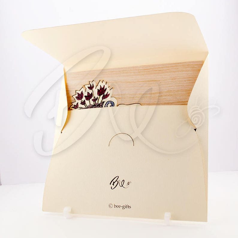 Blooming Bike Greeting card and Envelope Set hand illustrated natural wood husk laser cut beige textured paper print love blank inside