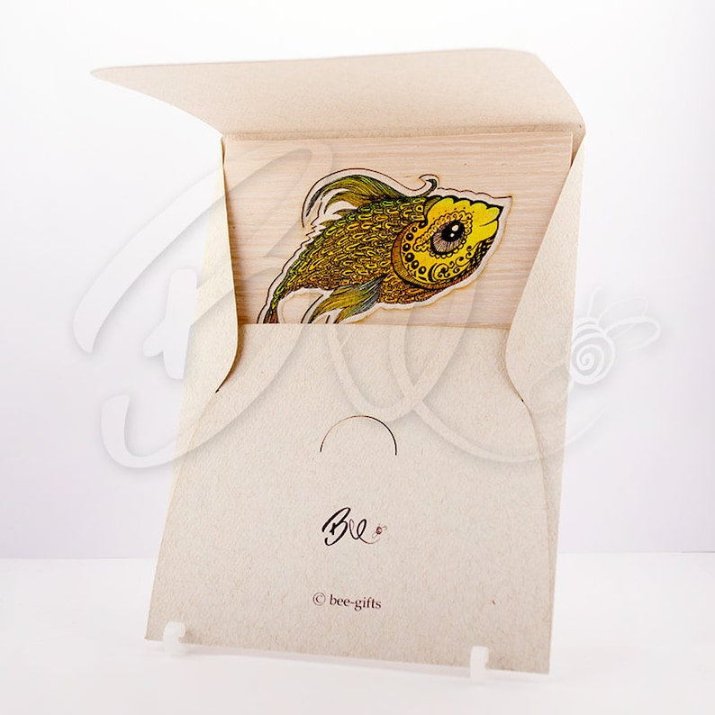 Gold Fish Greeting card and Envelope Set printed colorful sea natural wood husk laser cut beige textured paper gift idea for birthday