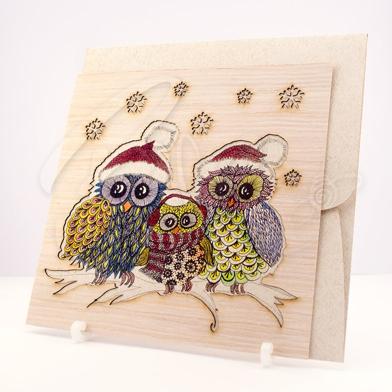 blank inside natural wood husk laser cut Owl Family in Winter Greeting card and Envelope Set beige textured paper hand illustrated