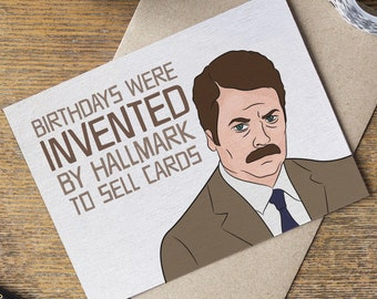 Ron swanson card Etsy