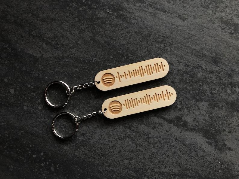 Spotify Code Keychain Custom Keyring Playlist Song Wood Engraved