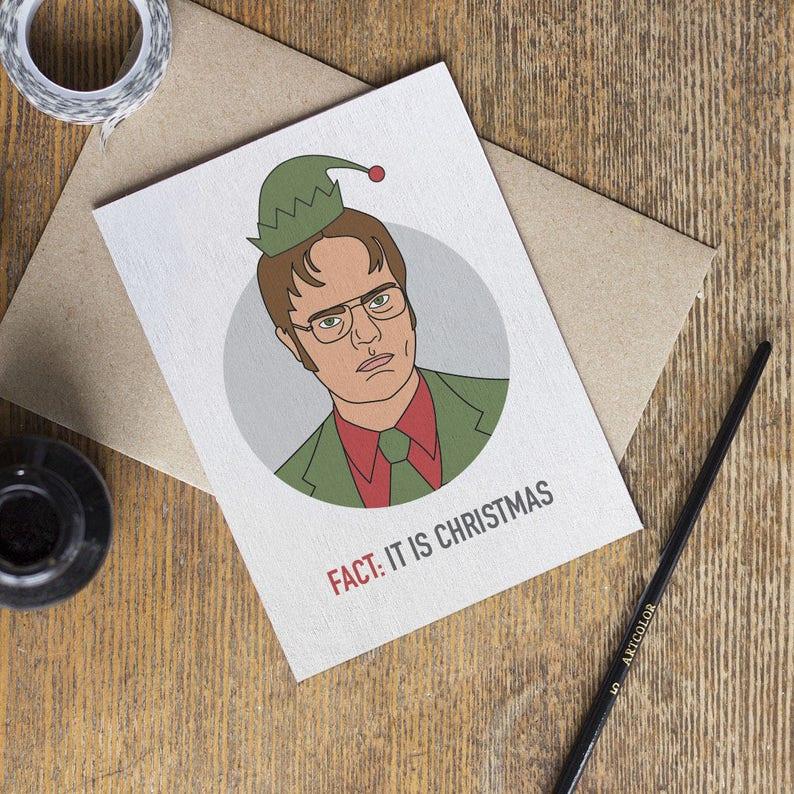 Weihnachtskarten Büro.Die Büro Karte Tv Show Weihnachtskarten Dwight Dunder Mifflin Serie Frohe Weihnachten Saisonale Freund Freundin Bester Freund