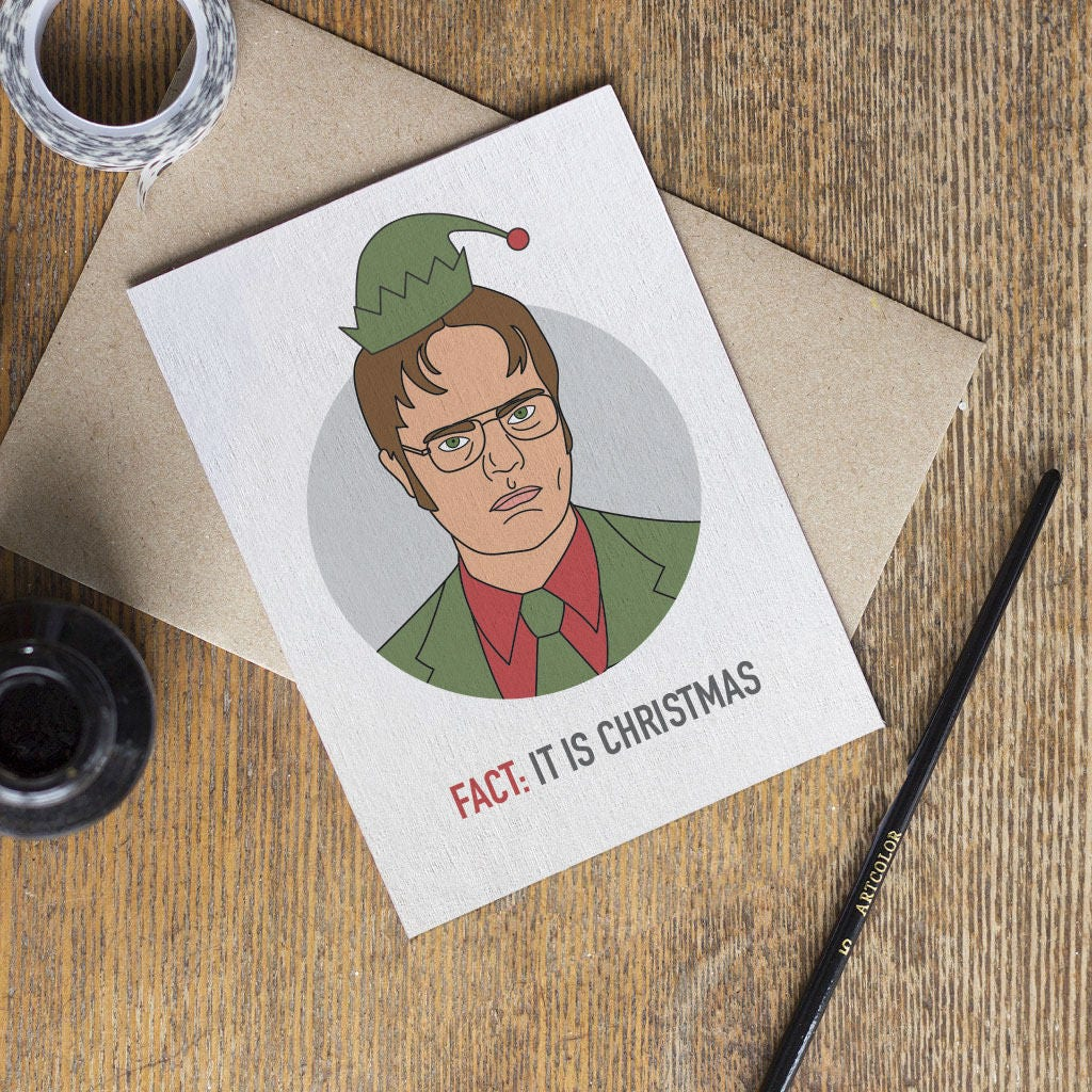 The Office Card Tv Show Christmas Cards Dwight Dunder Etsy