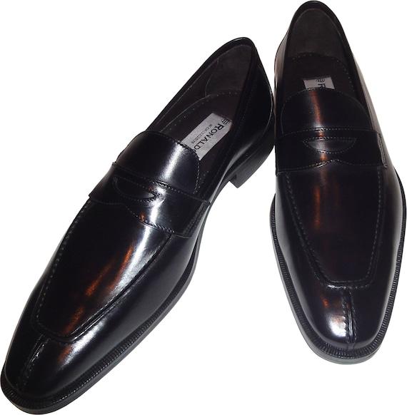 Mens Ronaldo Handmade Solid Black Italian Leather Loafer Etsy