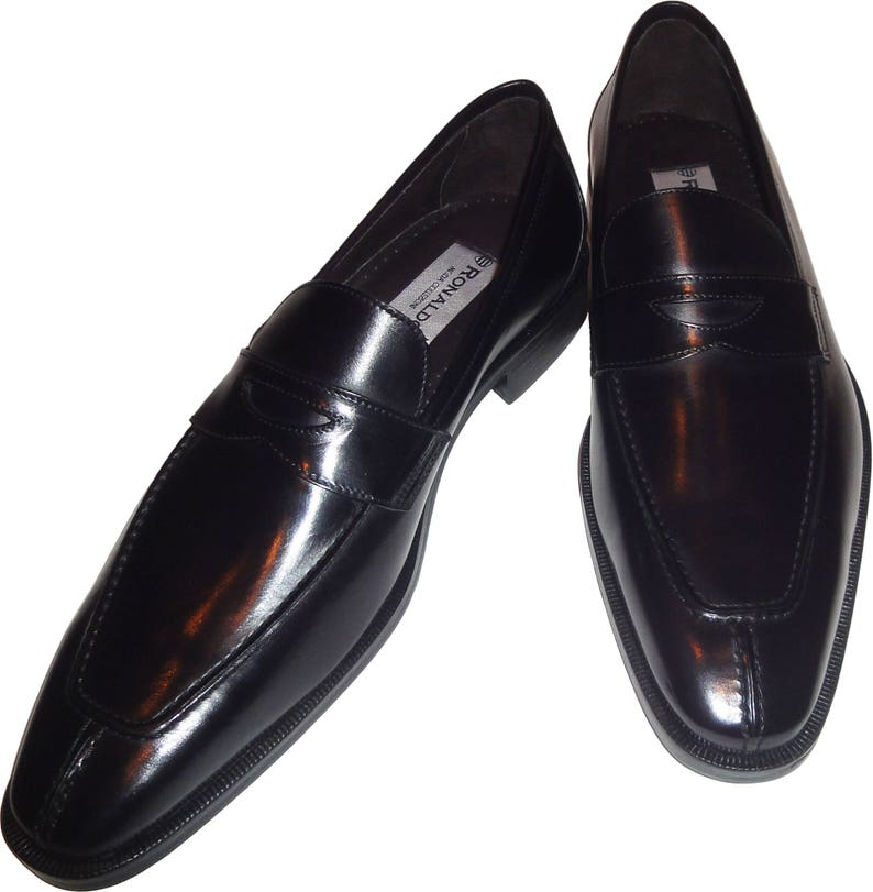 bf75f056a Men s Ronaldo Handmade Solid Black Italian Leather Loafer