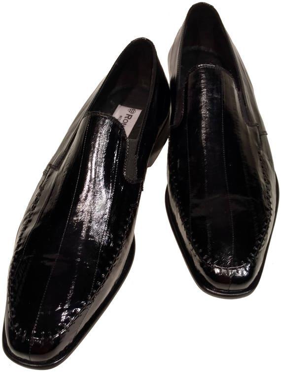 Eel Skin Mens Ronaldo Solid Black Italian Leather Loafer Etsy