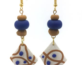 Royal blue and gold mustard earrings